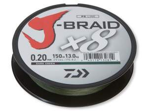 Daiwa J-Braid X8 Green 300m, geflochtene Angelschnur, braided line