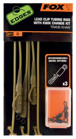 FOX Edges Trans Khaki Tubing Leadclip Rigs x 3 inc Kwik Change K