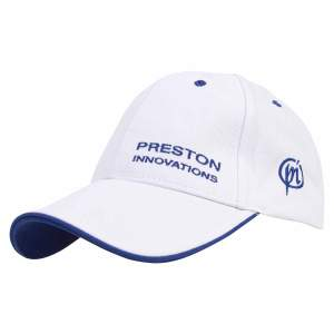 Preston  White Cap With Blue Trim