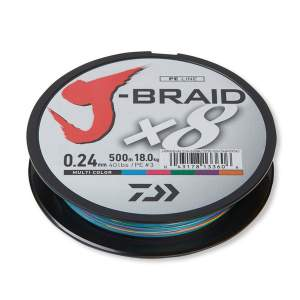 Daiwa J-Braid X8 multi color 0.24mm 18.0kg 300m, geflochtene Angelschnur