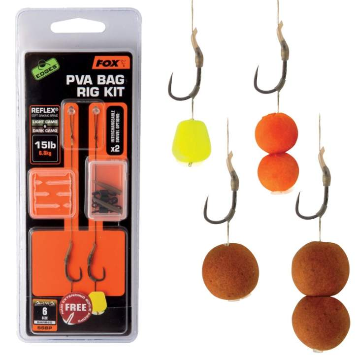FOX Edges PVA Bag Rig Kit Size SSBP B Barbless Reflex Camo M